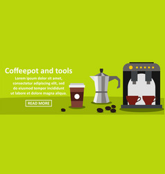 Coffeepot and tools banner horizontal concept vector