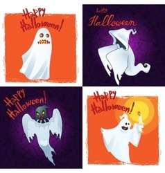 Collection Happy Halloween Greeting Cards with vector image