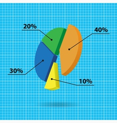 Color pie chart with text and background grid vector