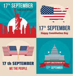 Constitution day usa banner set flat style vector
