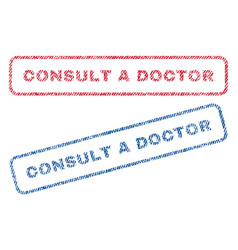 consult a doctor textile stamps vector image