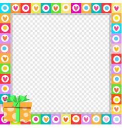 cute vibrant hearts border with bright orange vector image