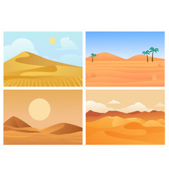desert landscape hot sunrise and sunset palm vector image