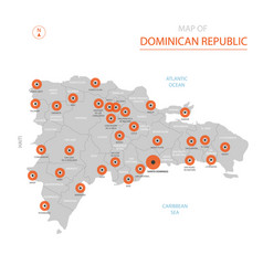 dominican republic map with administrative vector image