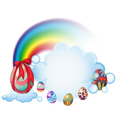 Easter eggs above the clouds vector