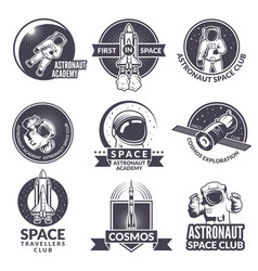 emblems labels or logos of space theme with vector image