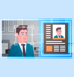 face recognition technology scanning business man vector image