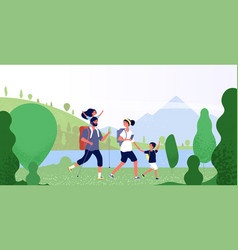 Family hiking nature man woman and kids in vector