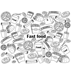 Fast food colorless set vector image