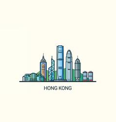 flat line hong kong banner vector image