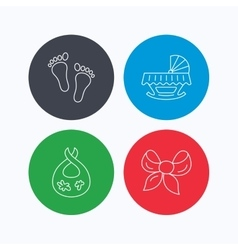 Footprint cradle and dirty bib icons vector image