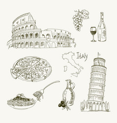 Freehand drawing italy items on a sheet vector