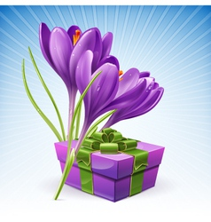 Gift and flowers vector