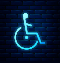 Glowing neon disabled handicap icon isolated on vector