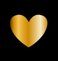 golden heart icon clip art isolated on black vector image