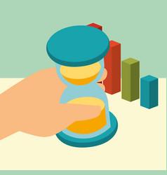 Hand holding business hourglass chart statistics vector