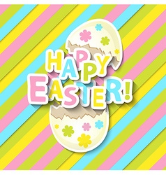 Happy Easter Greeting Card with Cartoon Egg vector