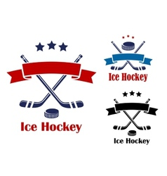 Ice hockey emblems or banners vector