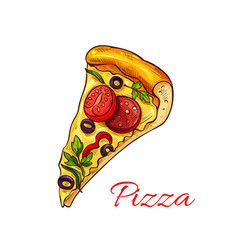 Icon pizza for italian pizzeria fast food vector