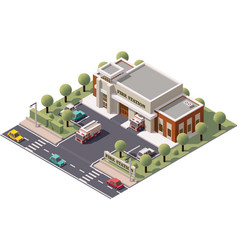 isometric fire station vector image