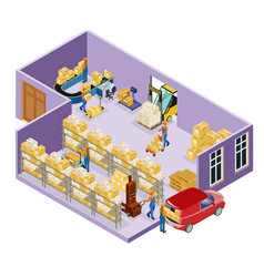 Isometric warehouse logistic template vector