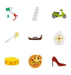 Italy culture elements icons set flat style vector