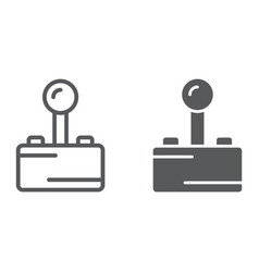 joystick line and glyph icon play and game vector image