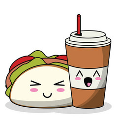 Kawaii taco with soda cup image vector