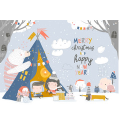 Kids celebrating christmas with animals vector
