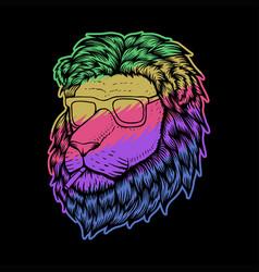 lion head smoke colorful vector image