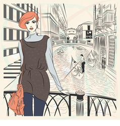 Lovely fashion girl on a Venice background vector image