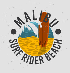 malibu surf rider beach california surfing surf vector image