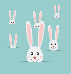 many easter rabbits isolated on blue background vector image