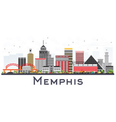 Memphis tennessee city skyline with color vector