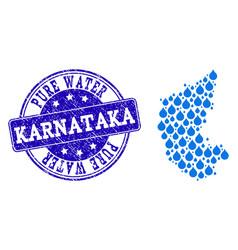 Mosaic map of karnataka state with water dews and vector