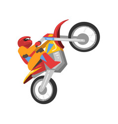 motorcyclist riding motorcycle motocross racing vector image