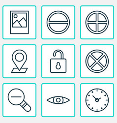 Network icons set with plus open lock eyes and vector