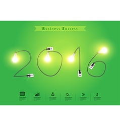 Numbers of New Year 2016 with creative light bulb vector image