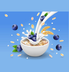 Oatmeal advertising and blueberry milk splashing vector