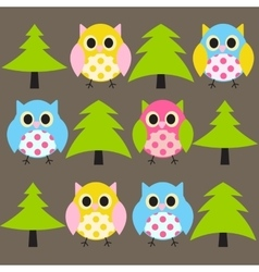 Ow and Treel Pattern Background vector image