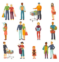 People shopping shopper buy with bag or vector