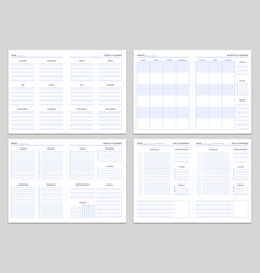 Planner note pages templates yearly monthly vector