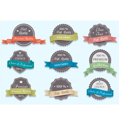 Premium Quality labels in retro colors vector image