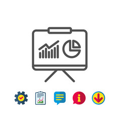 Presentation board line icon report chart sign vector