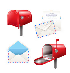 realistic postal elements set vector image