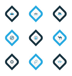 Religion icons colored set with camel lower your vector