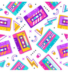 retro cassette pattern seamless vintage memphis vector image