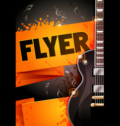rock festival flyer designwith black guitar vector image