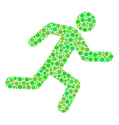 Running man collage of circles vector
