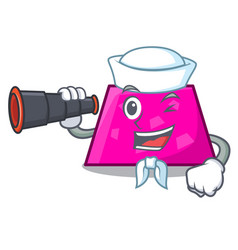 Sailor with binocular trapezoid mascot cartoon vector